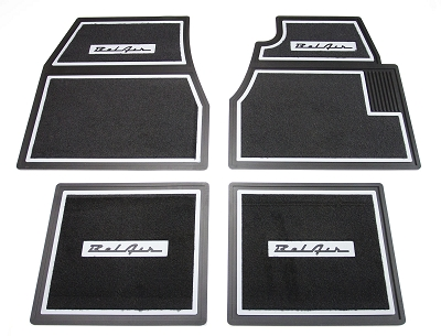 1955 1956 1957 Chevy Black Carpet Floor Mats With BelAir Logo
