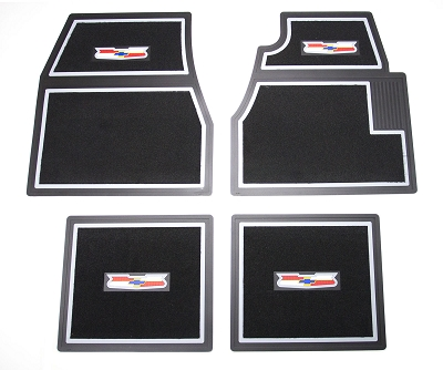 1955 1956 1957 Chevy Black Carpet Floor Mats With Crest Logo