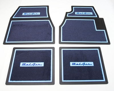 1955 1956 1957 Chevy Blue Carpet Floor Mats With Bel Air Logo
