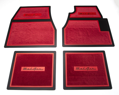 1955 1956 1957 Chevy Red Carpet Floor Mats With Belair Logo