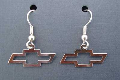 1955 1956 1957 Chevy Bow Tie Chrome Earrings