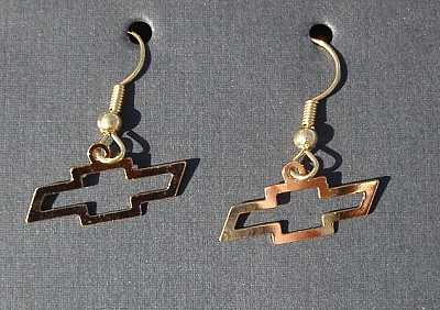 1955 1956 1957 Chevy Bow Tie Gold Earrings
