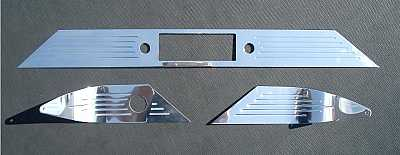 1955 1956 Chevy Billet Polished Aluminum Dash Trim With Lines & Stock Radio Cutout
