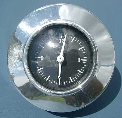 1955 1956 Chevy Polished Aluminum Quarts Clock With Black Face