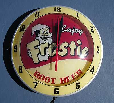 Frostie Root Beer Double Bubble Glass Clock