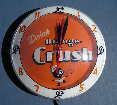 Orange Crush Double Bubble Glass Clock