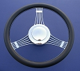 1955 1956 1957 Chevy Banjo Leather & Chrome Steering Wheel
