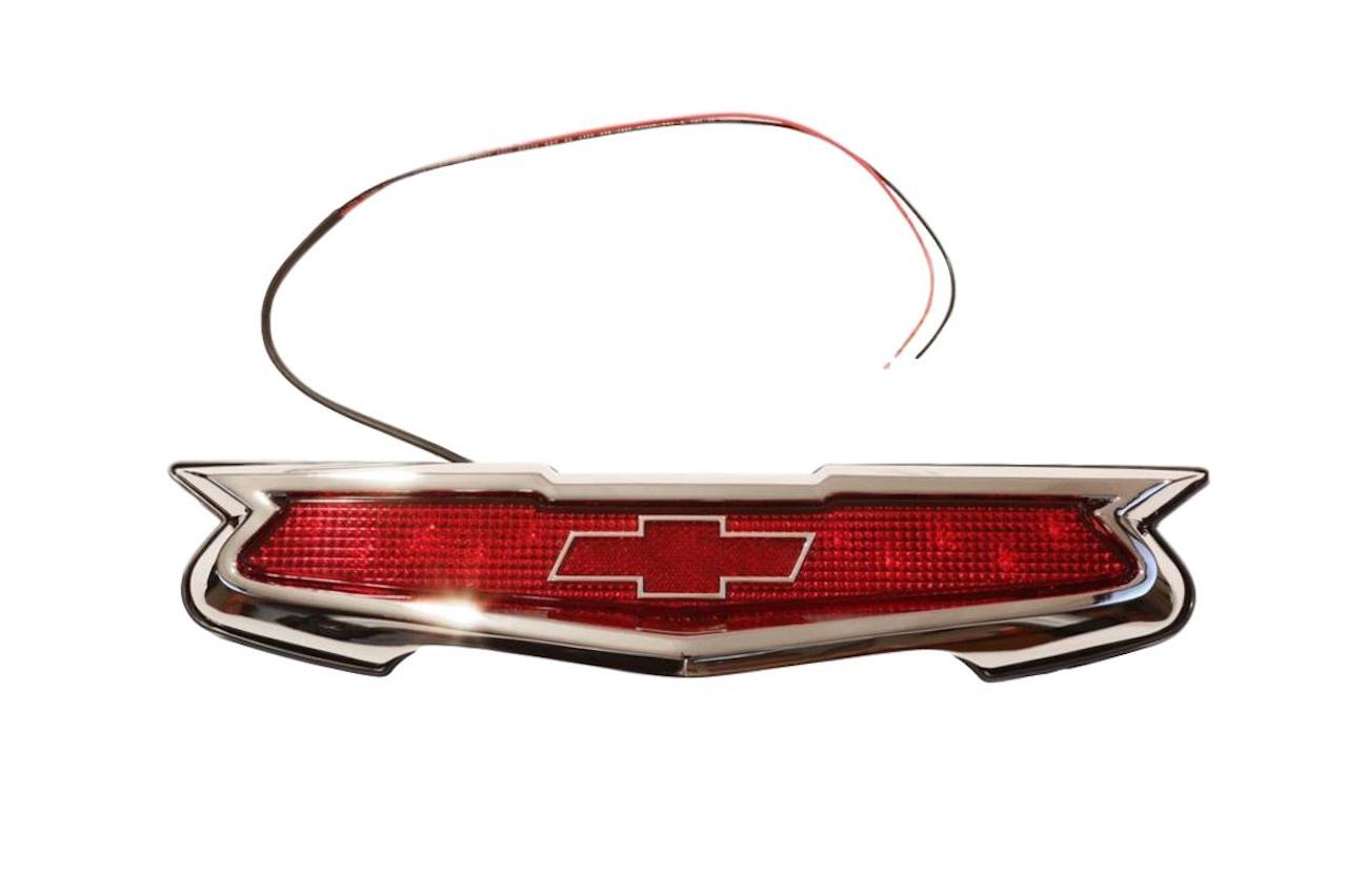 1955 Chevy LED Third Brake Light Trunk Emblem with Chrome Bezel.