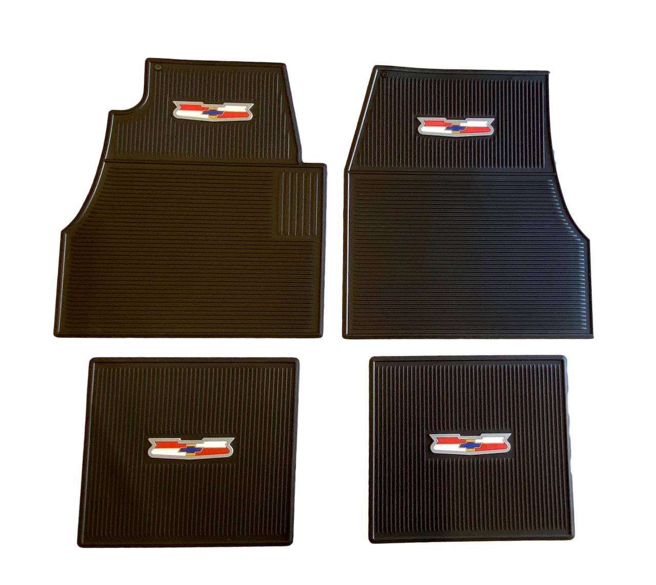 1955 1956 1957 Chevy Black Rubber Floor Mats With Crest Logo