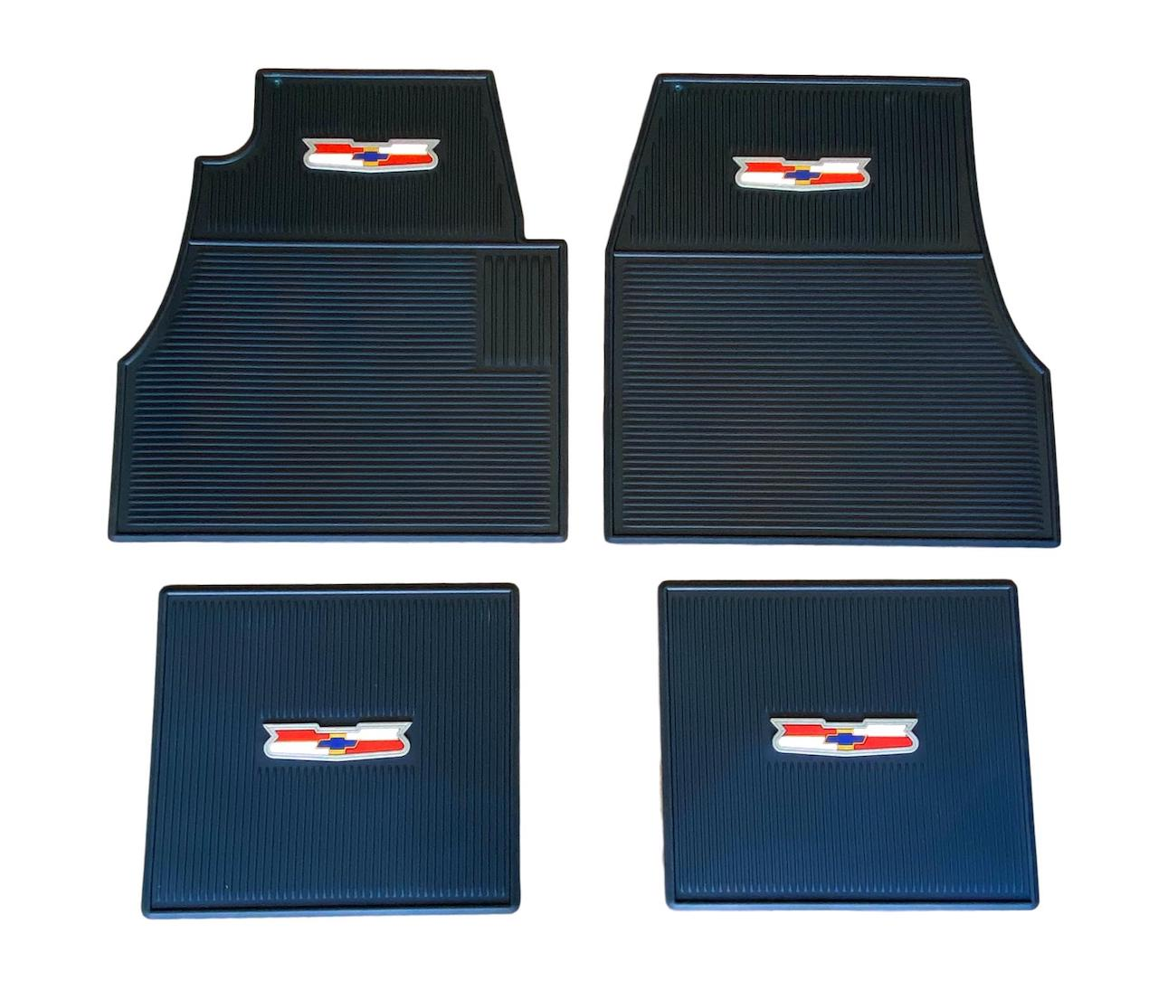 1955 1956 1957 Chevy Dark Blue Rubber Floor Mats With Crest Logo