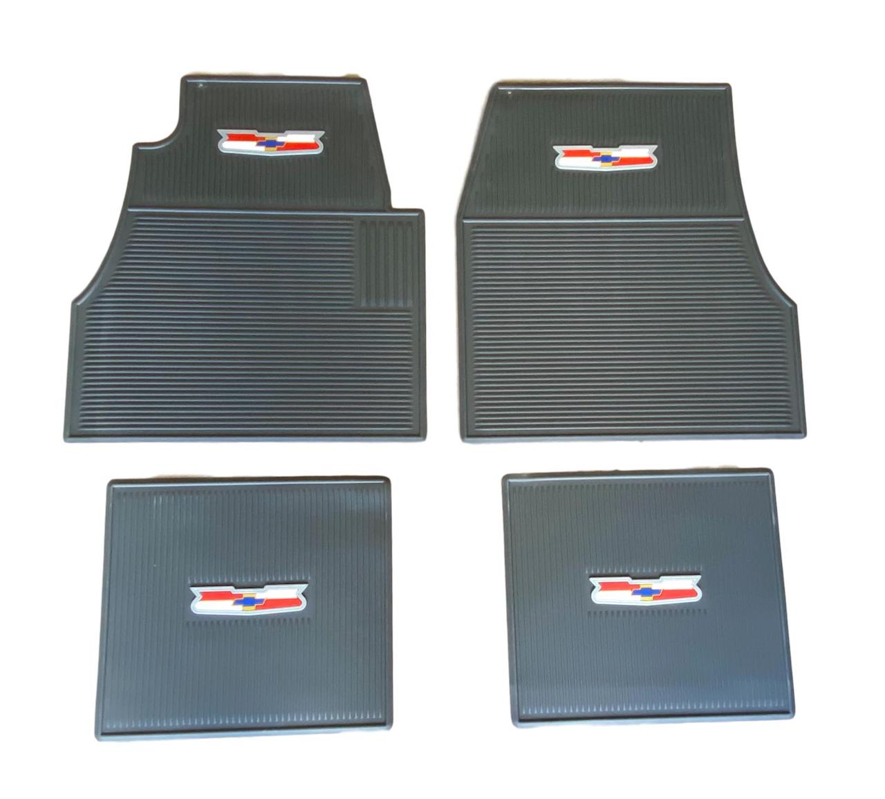 1955 1956 1957 Chevy Gray Rubber Floor Mats With Crest Logo