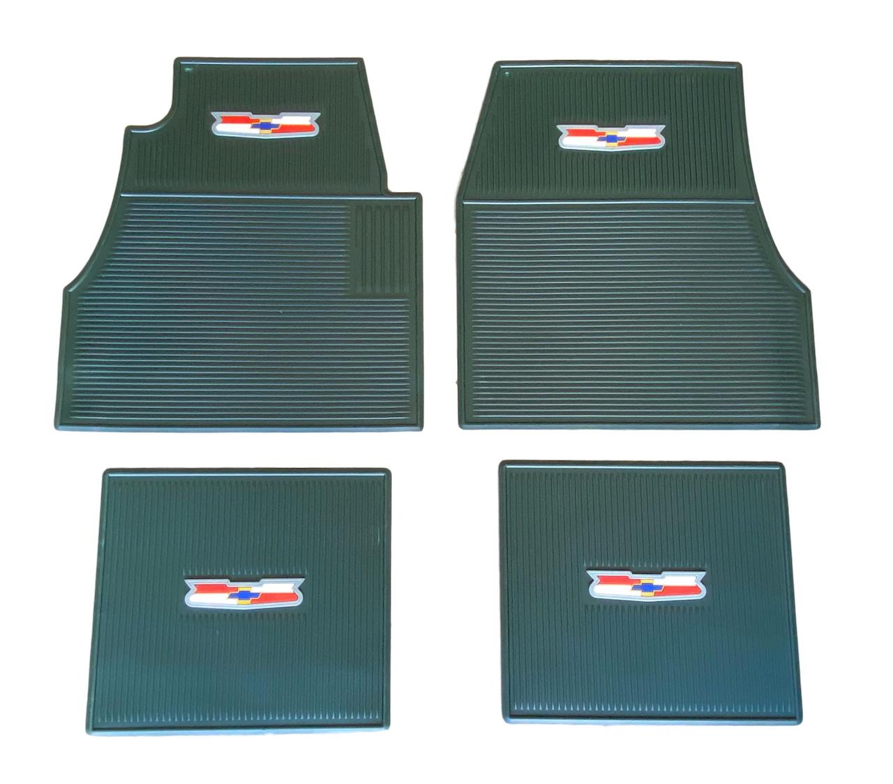 1955 1956 1957 Chevy Green Rubber Floor Mats With Crest Logo