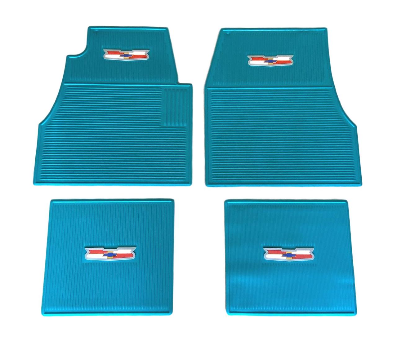 1955 1956 1957 Chevy Turquoise Rubber Floor Mats With Crest Logo
