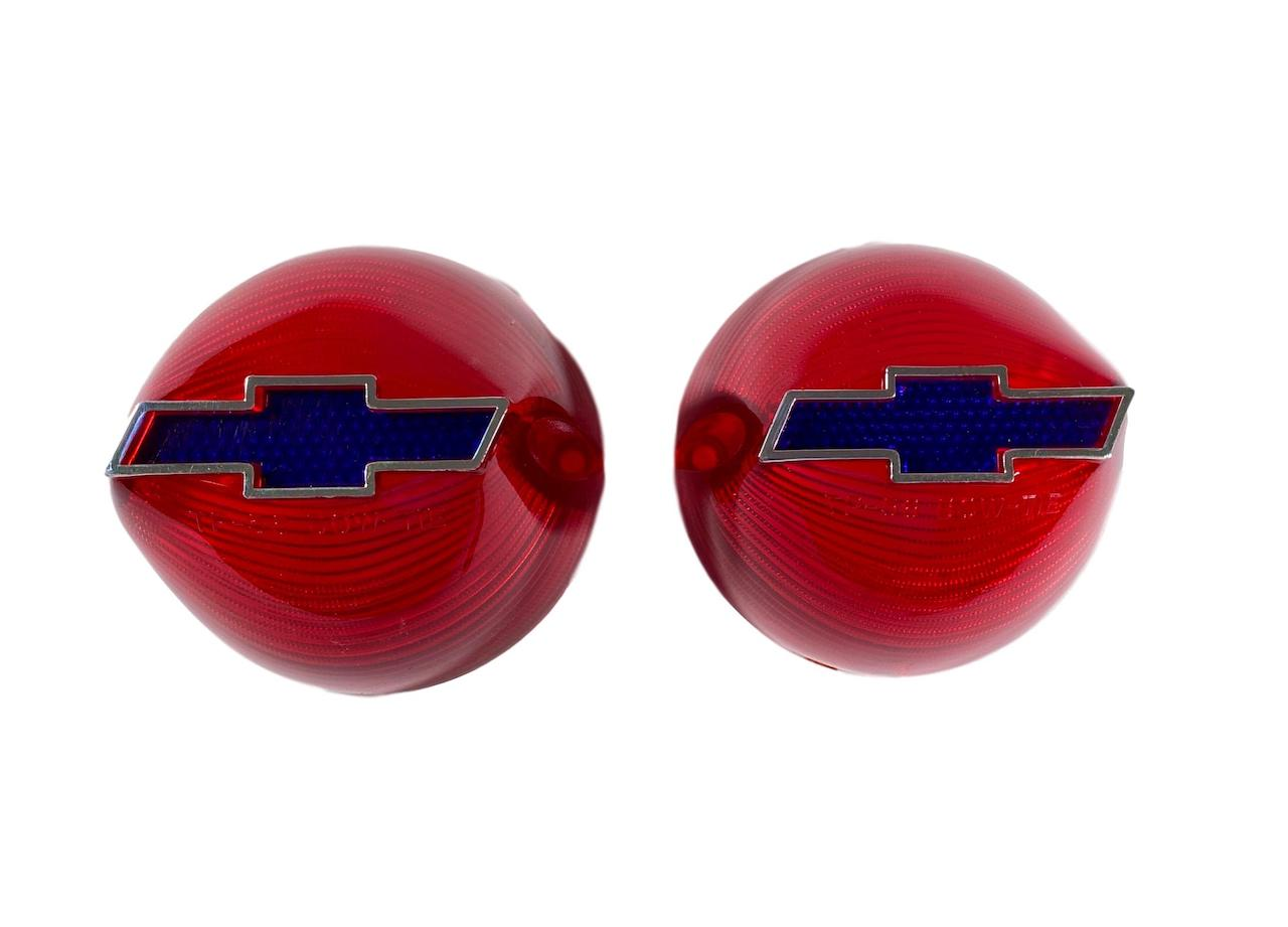 1956 Chevy Red Taillight Lenses with Blue Bowtie and Chrome Trim