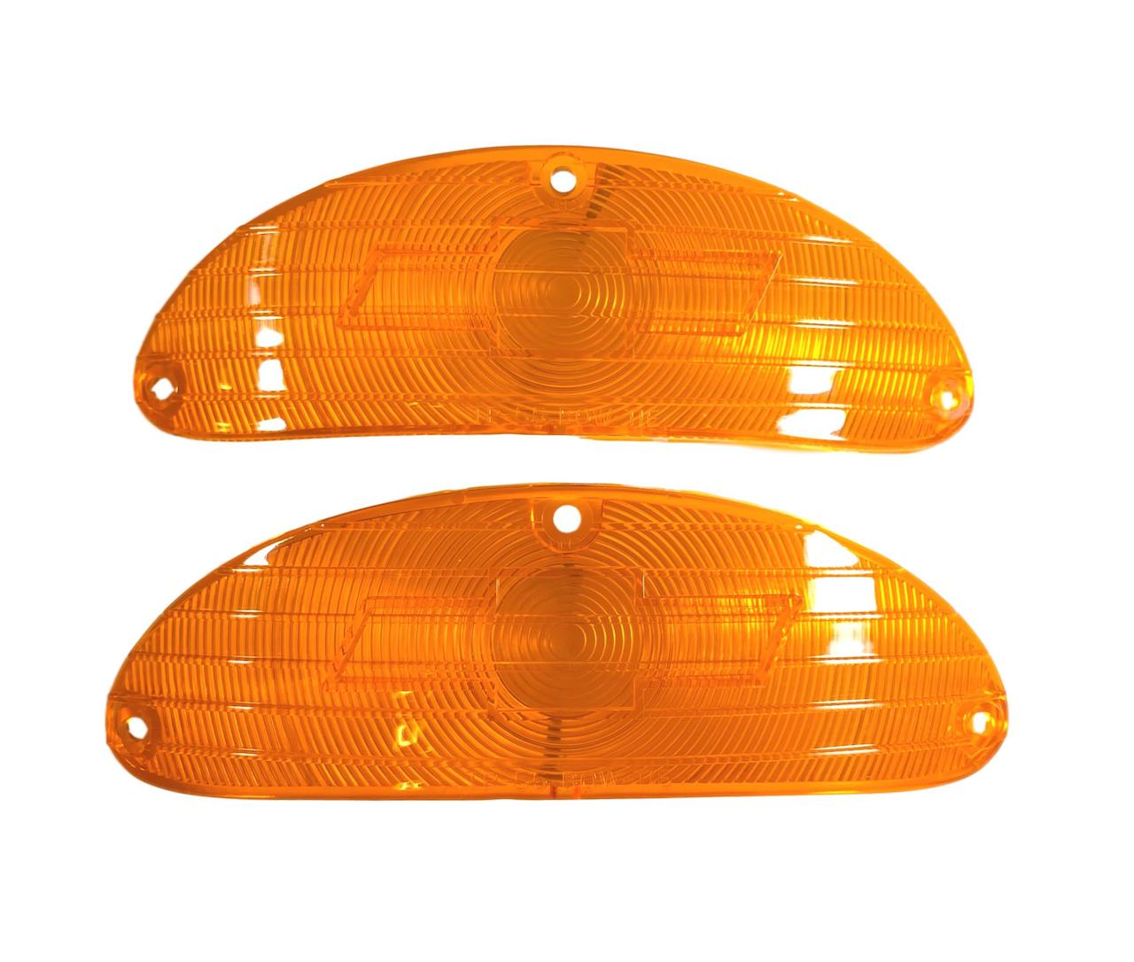 1955 Chevy Amber Parklight Lensees with Bowtie