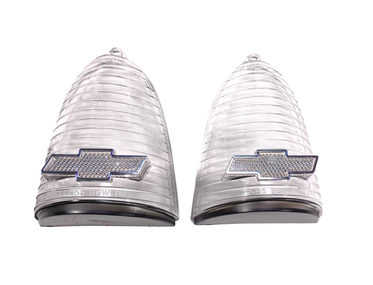 1955 Chevy Clear Taillight Lenses With Chrome Bowtie