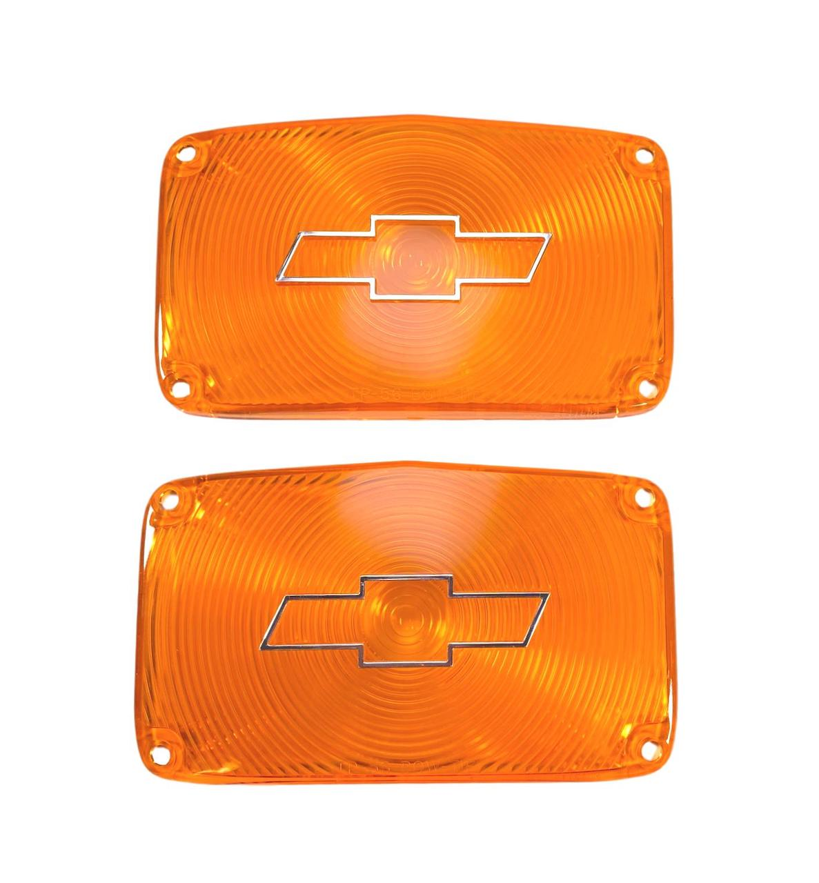 1956 Chevy Amber Parklight Lenses with Bowtie and Chrome Trim