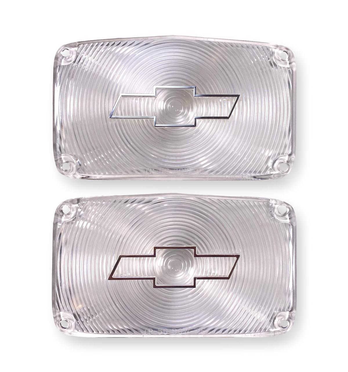 1956 Chevy Clear Parklight Lenses with Bowtie and Chrome Trim