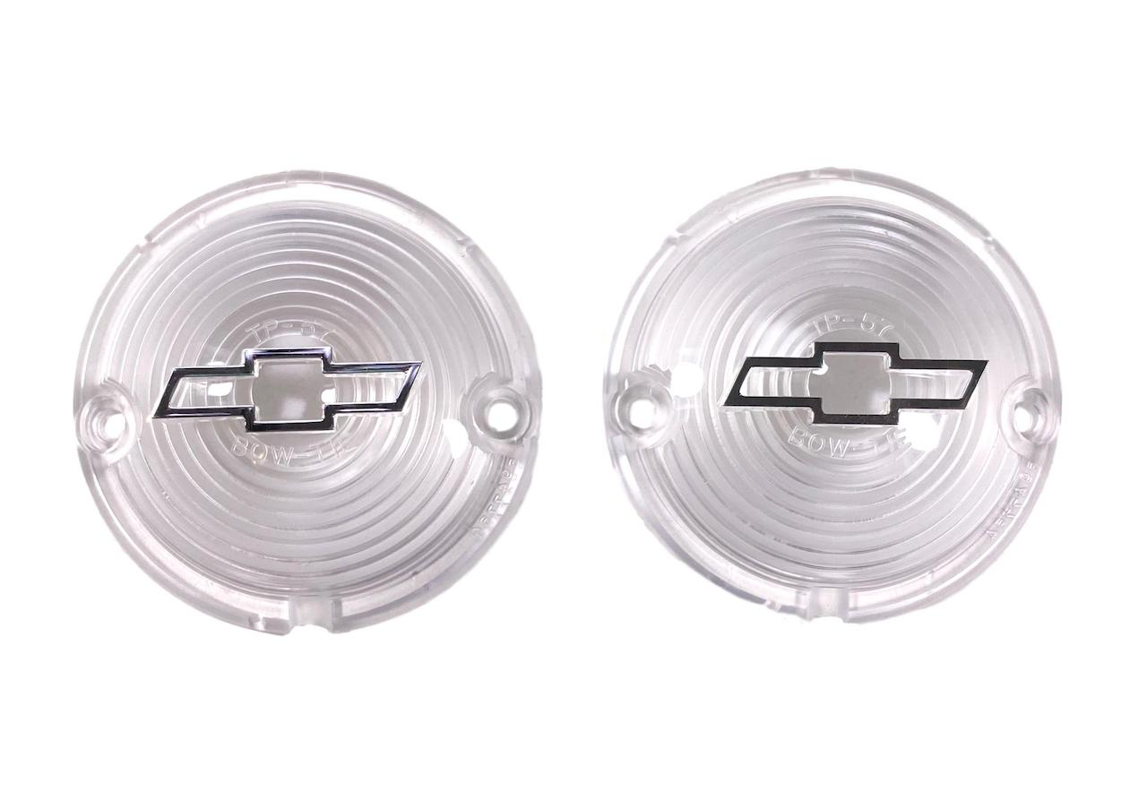 1957 Chevy Clear Parklight Lenses with Bowtie and Chrome Trim
