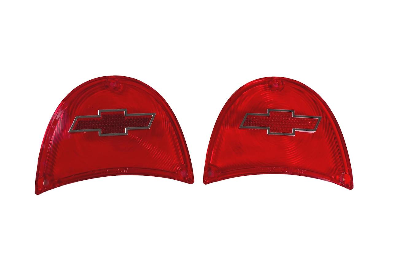 1957 Chevy Red Taillight Lenses with Bowtie and Chrome Trim