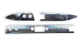 1957 Chevy Bel Air Dash Trim Set with Gold Bel Air Script Danchuk Brand