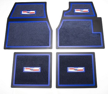 1955 1956 1957 Chevy Blue Carpet Floor Mats With Crest Logo