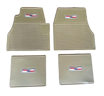 1955 1956 1957 Chevy Tan Rubber Floor Mats With Crest Logo