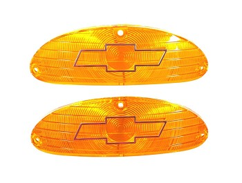 1955 Chevy Amber Parklight Lenses with Bowtie and Chrome Trim