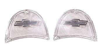 1957 Chevy Clear Taillight Lenses With Chrome Bowtie